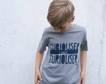 Curiouser and Curiouser hand screenprinted organic t-shirt - gift for kids +book lovers