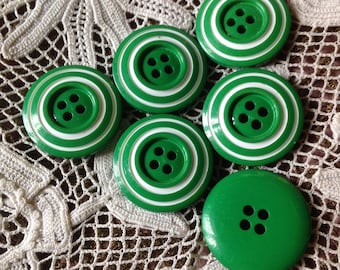 Set of six vintage buttons, vintage 70s - 80s