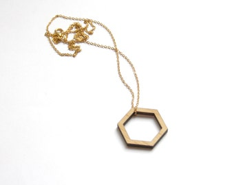 Geometric necklace, wooden Hexagon collar, chic minimalist modern, contemporary jewellery, gift, design, woman jewel, made in France, Paris