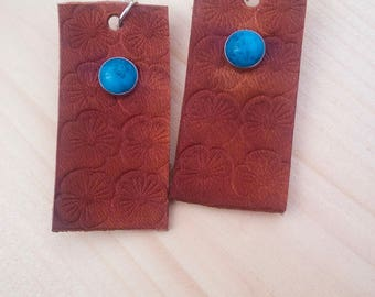 Hand Tooled Leather Earrings - Floral Earrings - Brown Leather - Turquoise - Silver Earrings - Western Jewelry - Cowgirl Jewelry