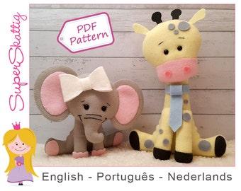 Felt Pattern Olivia & Jack, Softie pattern animal, plush pattern elephant and giraffe, pdf sewing pattern by Superskattig