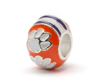 Clemson University Charm | CU Tigers - Tigers Round Paw Bead | Officially Licensed Clemson University Jewelry | Stainless Steel