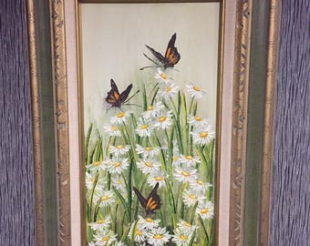 Vintage 1970's Oil painting ART by Texas Artist Helen Haegelin Wild Flowers Butterfly Framed b