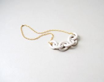 Porcelain Harbor Necklace - Dock Chains - Wedding Jewelry, Bridal, Harbor Jewelry - Chain Necklace -  white minimalist