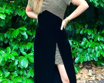 Glamorous 80s Black and Gold Velvet Maxi