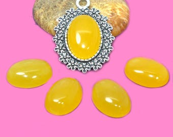 dyed yellow jade 13x18mm cabochon