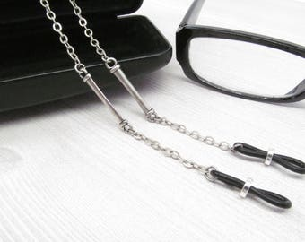 Dark Silver Eyeglass Chain for Men, Reading Glasses Chain, Chain for Glasses Lanyard, Eyeglass Holder Necklace, Mens Eyeglasses Chain