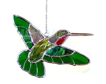 Stained Glass Hummingbird Sun Catcher