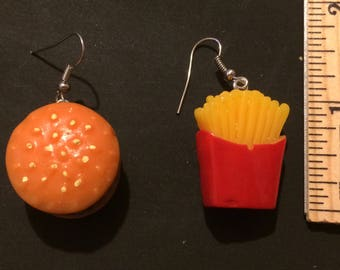 Hamburger and French Fries inspired earrings