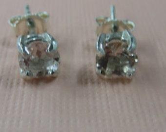 Morganite Earrings - Pale Pink Morganite Post Earrings - Checkerboard Top Morganite Posts