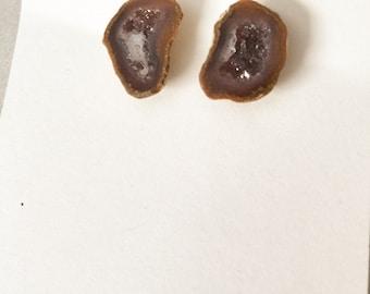 Chocolate Brown Druzy Geode Studs on Nickel Free Posts