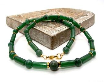 Men's Deep Green Aventurine and Jasper Necklace, Men's Green Necklace