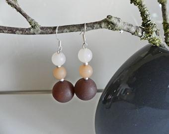 Athletic elegant Polaris earrings, hanging earrings, Polarisperlen, various shades of brown