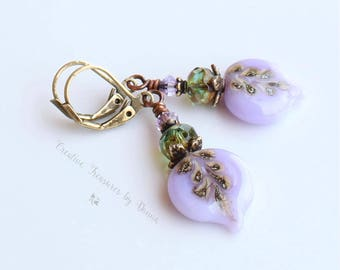 Purple Brass Earrings Violet Flower Leaf Lampwork Headpins Czeck Glass Beads Swarovski Crystals Boho Earrings