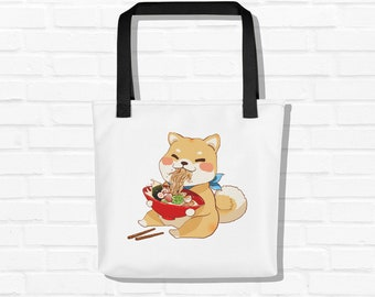 Cute Shiba Inu Tote bag, Kawaii Shiba Inu Dog, Classic Ramen Shiba Inu Art, Unique Cute Beach Tote Bag, Cute Graphics Dog Gift