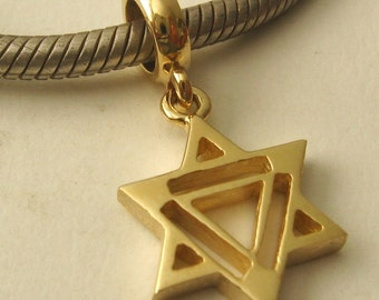 Genuine SOLID 9K 9ct YELLOW GOLD Charm Star of David Drop Bead