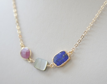 Lapis Lazuli Necklace, Ruby Necklace, Mother of pearl necklace , golden necklace, gemstone jewelry,semiprecious stone jewelry