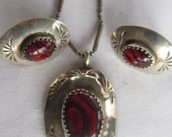 Beautiful Rare Red Abalone Paua Sterling Silver Set Navajo Necklace SET Earring Set Ruby red Jewelry Navaho Indian Jewelry set Southwestern