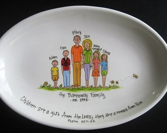 EXTRA Large Personalized Family Platter - Handpainted 16 Inch Oval Family Platter - Personalized - Great Gift