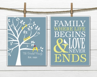Family Tree Print  2 Piece Set -  Birds and Tree Print
