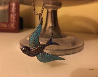Blue Sparrow Necklace