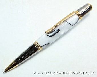 ALABASTER acrylic pen with Black Titanium/Titanium Gold in Sierra style