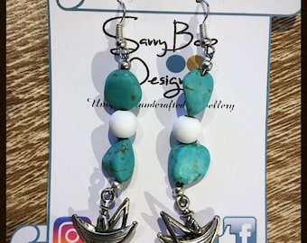 Fishing boat with turquoise drop earrings