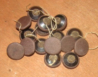 Vintage Brown Fabric Sew On Buttons