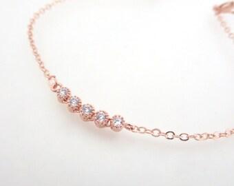 Rose Gold Bangle bracelet, Rose Gold Crystal bracelet, Delicate Rose Gold bracelet, Bridesmaid bracelet, Friendship bracelet, Bridesmaid