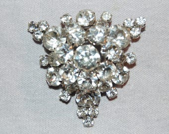 Acosta - Silver Coloured with Clear & AB Crystal - Double Layered Floral Wreath Brooch ryQkJ8h0