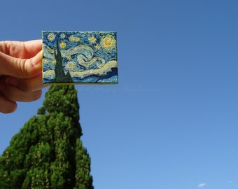 World's most famous hand-painted starry night, Van Gogh, acrylic on canvas 5 x 7 cm