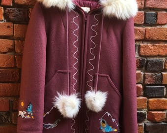 RARE Pink Virgin Wool Parka in Gorgeous Condition Fur Hood and Pom Poms Embroidery 1234