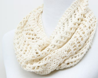 White lace cowl for mother. Ivory lace cowl for mom. Silk and wool lace cowl. Hand knit lace scarf. Lightweight cowl. Little luxury cowl.