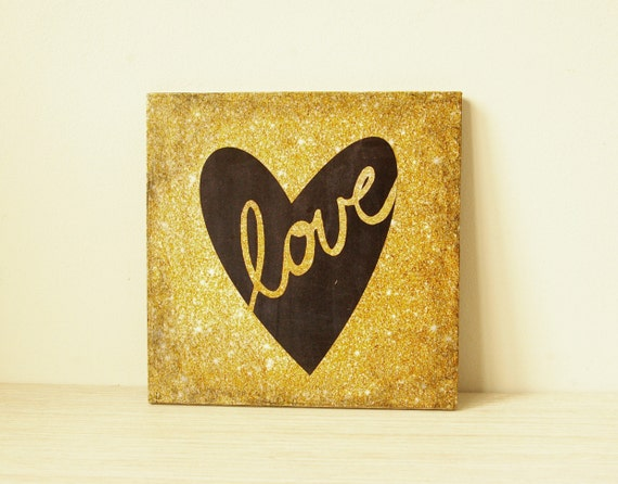 Wooden art block 6x6 collage wall decor LOVE sign decoupage