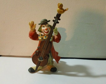 Vintage 70s Anri Toriart Clown playing Cello with Birdie on top Figurine