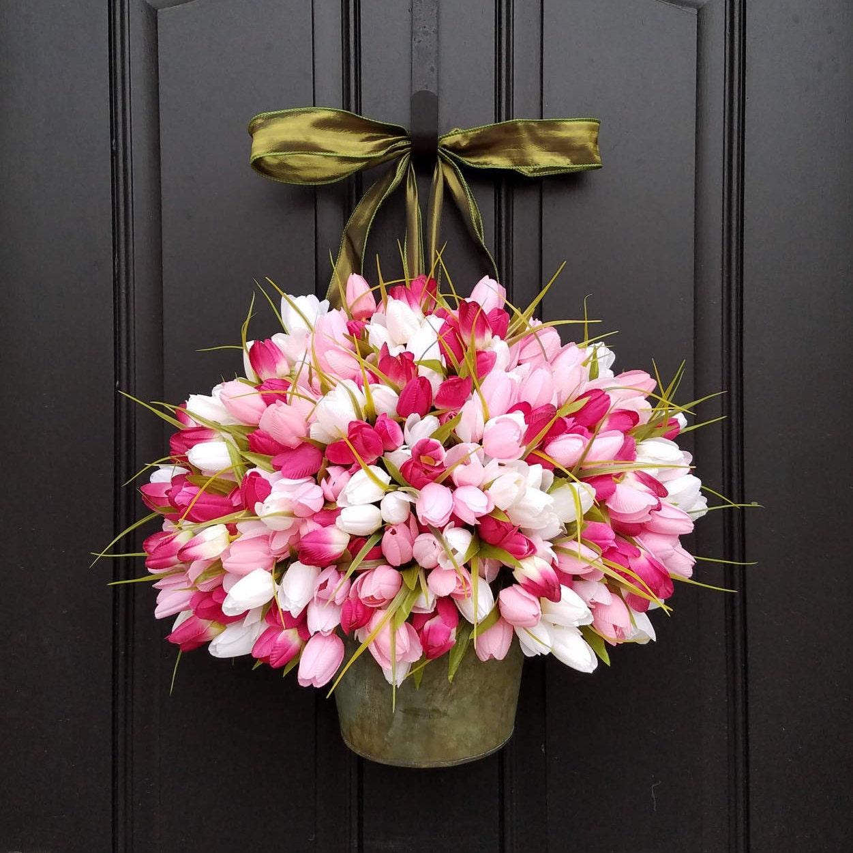 Tulip Bucket Wreath Tulips for Spring PINK Tulip Bucket