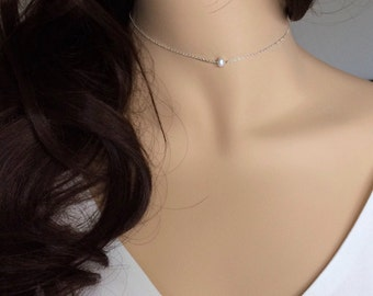 Freshwater Pearl Choker, Dainty Pearl Choker, Gold Chain Choker, Everyday Jewelry, Bridal Jewelry, Bridesmaid Necklace, UK Seller