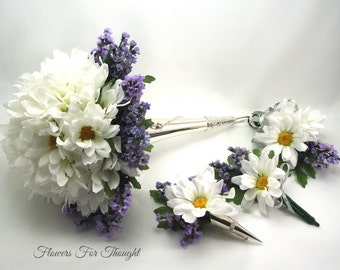 Daisies and Lavender Bridal Package, White and Purple Wedding Flowers, Bride and Groom Florals