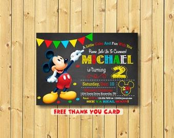 Mickey Mouse Invitation,  Mickey, Invitation, Mickey Invitation, Mickey Mouse Invitation Printable, 2nd birthday, free thank you card
