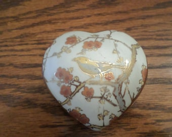 Heart Shaped Porcelain Trinket Box With Bird Design