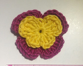Set of 4 double crochet tone purple and yellow pansies flowers