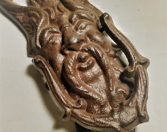 cast iron  North Wind door knocker, French country,cottage chic,celtic, Pagan