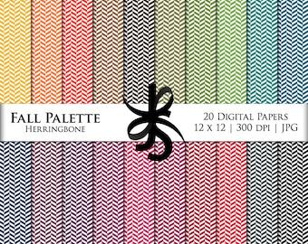 Digital Scrapbook Papers-Fall Palette Herringbone-Chevron-Preppy-Fall Clipart-Backgrounds-Wallpaper-Printable-Instant Download Clip Art