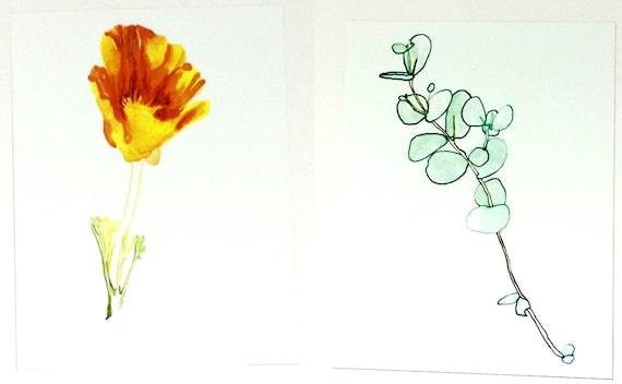 California poppy painting and eucalyptus leaves print set like this item mightylinksfo Choice Image