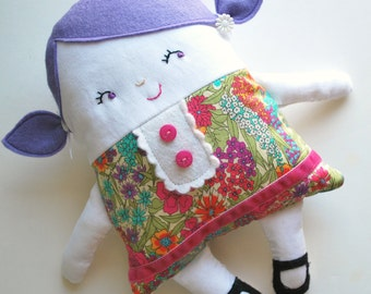 Lavender Purple Hair Two-Faced Friend Flip Doll in Liberty Of London Fabrics - Dolly - Baby Doll - Topsy Turvy - Rag Doll - Unique