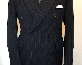 Stunningly stylish 1940s dark blue with red pinstripe two piece men's suit.