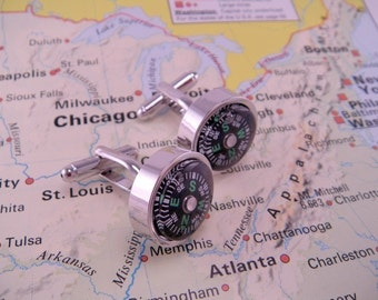 Working Compass Directional Cuff Links Cufflinks Direction Travel Lost Map