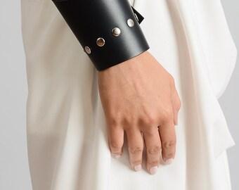 NEW Asymmetric Leather Bracelet/Black Genuine Leather Studded Bracelet/Black Leather Cuff with Studs/Handmade Leather Wristband/Black Cuff