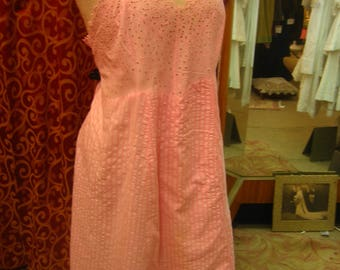 "1950's, 40"" bust, stripped pink cotton seersucker and eyelet slip."