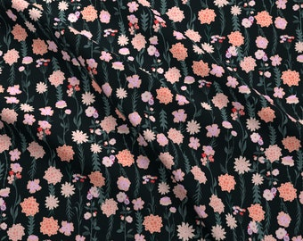Spring Floral Fabric - Paulette Iveta Abolina By Onesweetorange - Spring Floral Flowers Night PinkCotton Fabric By The Yard With Spoonflower
